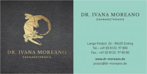 Zahnarzt Erding Dr. Ivana Moreano Visitenkarte